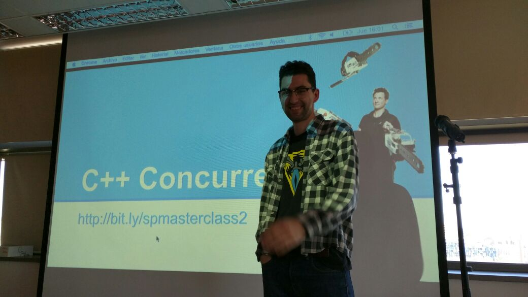 Me giving a talk on concurrency